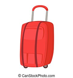 Big Red Suitcase On Wheels With Telescopic Handle Item From...