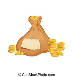 Large Heavy Closed Sack With Golden Coins, Hidden Treasure...