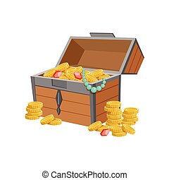 Half Open Pirate Chest With Golden Coins And Jewelry, Hidden...