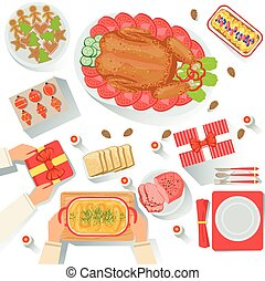 Couple With The Traditionally Served Christmas Celebration Meal View From Above Cartoon Illustration