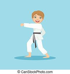 Boy Doing Fist Kick In White Kimono On Karate Martial Art...