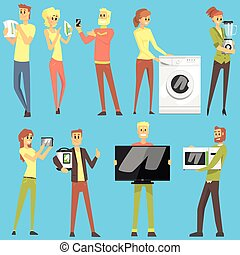 Happy Smiling People In Department Store Shopping For Domestic Equipment Choosing Electronic Objects For Home Set Of Cartoon Characters