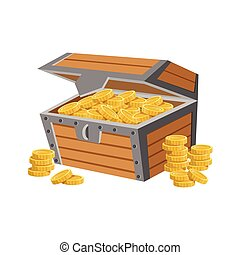 Wooden Chest Filled With Golden Coins, Hidden Treasure And...