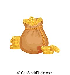 Small Sack With Golden Coins, Hidden Treasure And Riches For...