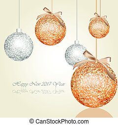 Happy New Year greeting card Vector with shiny Christmas...