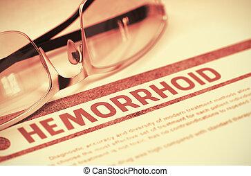Hemorróida, Ilustração, conceito, -, diagnóstico, medicina,...