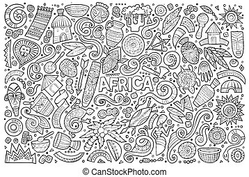 Vector doodle cartoon set of Africa objects - Line art...