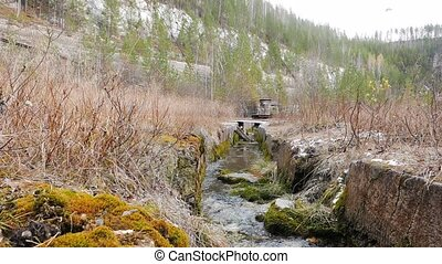 Creek at the bottom of the quarry. Russia