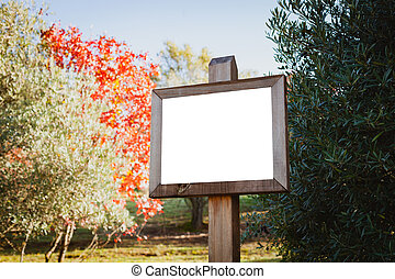 Blank cartel for advertising in the nature