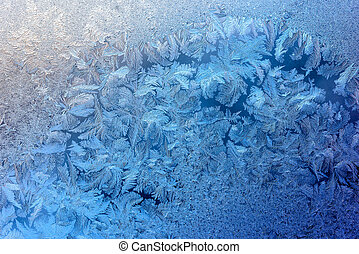 Window in winter - Cracked texture of ice on window in...