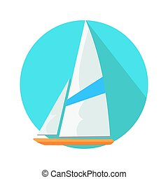 Boat Sign Symbol in Round Web Button. Yacht at Sea