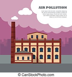 Air Pollution Banner. Factory with Smog Pipes - Air...