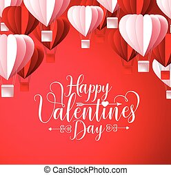 Happy valentines day greetings card vector design in red background
