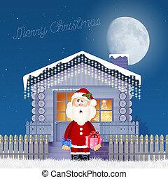 Christmas house - illustration of Christmas house