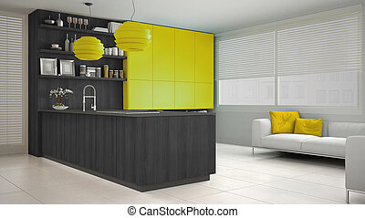 Minimalistic gray kitchen with wooden and yellow details, minimal interior design