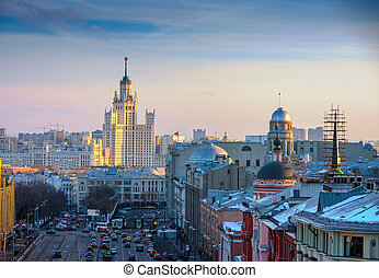 Moscow, view of the skyscraper on Kotelnicheskaya embankment...