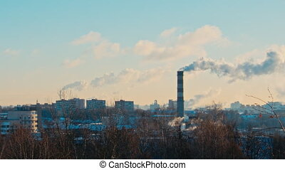 City, Sunny winter morning, the smoke from the chimney