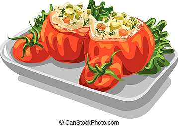 stuffed minced tomatoes - illustration of minced tomatoes...