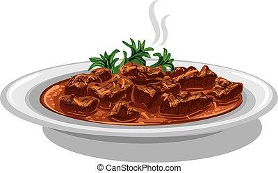 hungarian goulash dish - illustration of hungarian goulash...