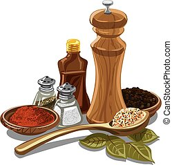 flavours for cooking - illustration of different natural...