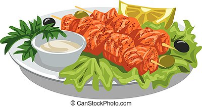 grilled salmon kebab - illustration of grilled salmon kebab...