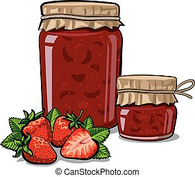 canned strawberry jam - illustration of canned strawberry...