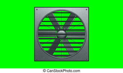 Industrial ventilator looped on green screen 3d illustration render