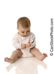 feeding baby on white background