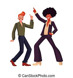 Black and white men in 1970s style clothes dancing disco -...