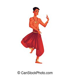 Indian male dancer in traditional harem pants, Bollywood...