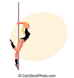 Young woman in black leotard standing at the pole, cartoon...