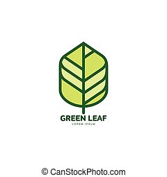 Green leaf growing up logo template, vector illustration...