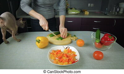 Girl cook prepares in the kitchen, sliced cucumber