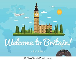 Welcome to Britain poster with famous attraction