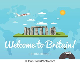 Welcome to Britain poster with famous attraction vector...