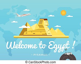 Welcome to Egypt poster with famous attraction