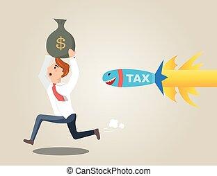 Businessman running away from rocket tax. Businessman...