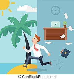 Business man running from office to summer beach