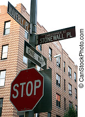 Stonewall pl - Sign at the Stonewall plaza in the Greenwich...