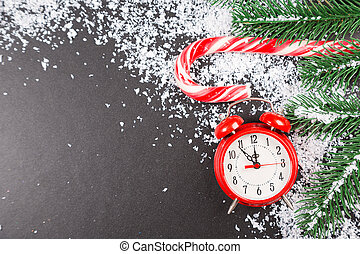 New Year's clock. Christmas background