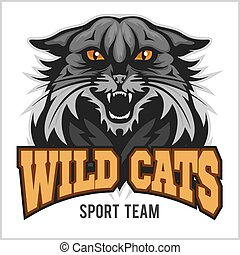 Wildcat mascot - sport team. Isolated on white