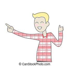 Successful Man with Thumb Up Gesture - Happy smiling man in...