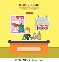 Quality Service in Supermarket Vector Web Banner. - Quality...