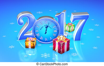 New Year. 2017. Christmas fairy-tale gifts. Beautiful boxes, clock. 3D illustration.