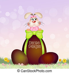 Happy Easter - illustration of Happy Easter