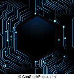 Abstract blue circuit board on dark background