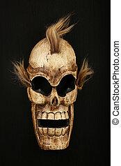 Wooden carved skull death mask on black - Handmade wooden...