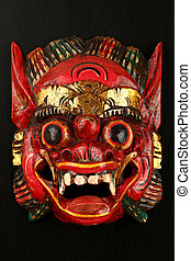 Asian traditional wooden red painted demon mask - Asian...