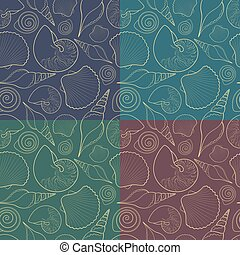 Set of vector seamless patterns with shells