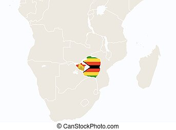 Africa with highlighted Zimbabwe map. Vector Illustration.